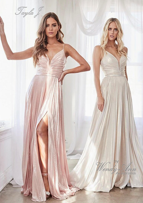 Wendy Ann Stunning A-Line Metallic Pleated Formal Gown