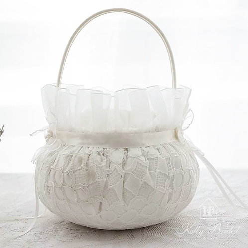 Round Flower Girl Basket with Lovely Lace