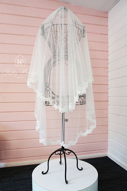 Ballet Length Two Tier Lace Edged Wedding Veil