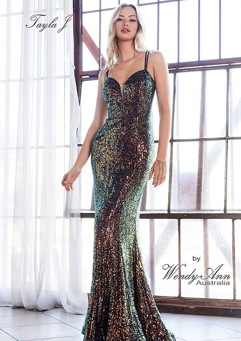 Wendy Ann Exquisite Fitted Sequin Formal Gown