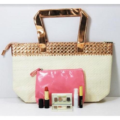 Elizabeth Arden 5 Piece Set White Beige Gold Handbag