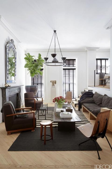 Architecte d'intérieur : Clements Design Tissu pour les assises THABOR  © Elle Décor Magazine