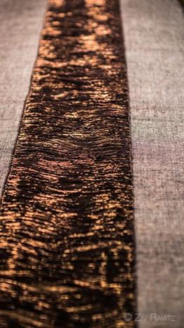 Chemin de table PERRINE, fait-main en cuivre et lin