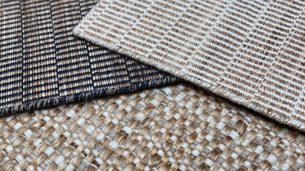 TOKYO, tapis PERRINE tissé-main en lin et abaca / PALAWAN, tapis PERRINE tissé-main en sunpat, laine et lin