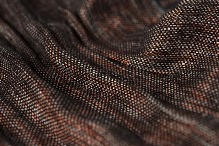 Tissu PERRINE réalisé à la main en cuivre et lin