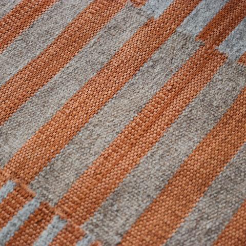 HELIA, Tapis PERRINE tissé-main en laine, cuir et coton