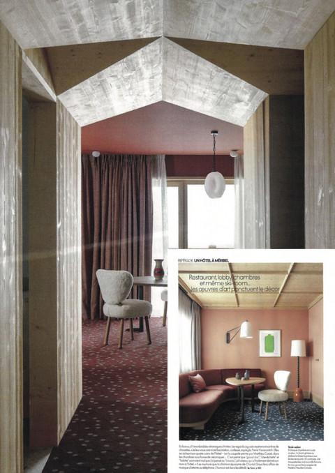 Architecte d'intérieur : Pierre Yovanovitch  Hôtel le Coucou à Méribel Réalisation d'un tissu sur mesure pour les rideaux des suites