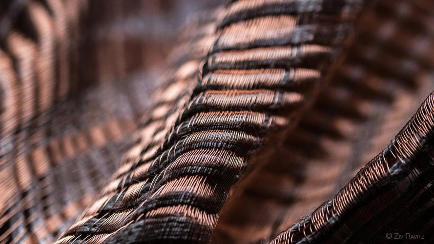 Prototype PERRINE tissé à la main en fils de cuivre et lin