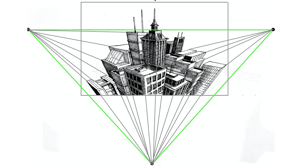 3 Point perspective in drawing.