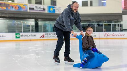 bobby the seal, ice skating fun, ice skating support bar
