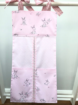 Pink & Grey Large Rabbit Nappy Stacker