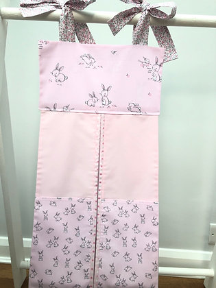 Pink & Grey Small Rabbit Nappy Stacker