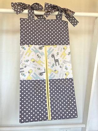 Yellow Giraffe/ grey pockets Nappy Stacker