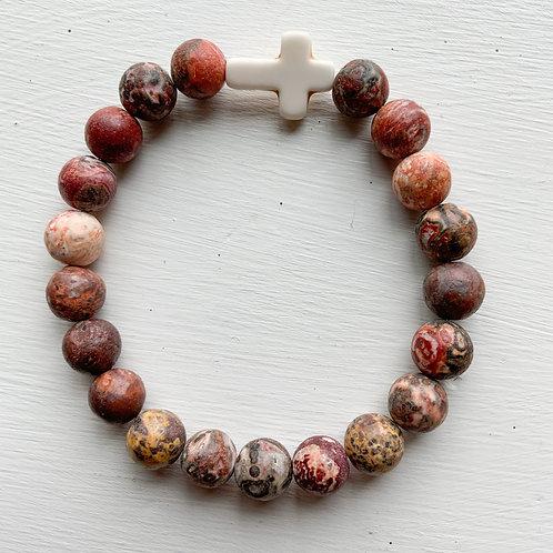 Praying For Payton Pink & White Cross Bracelet
