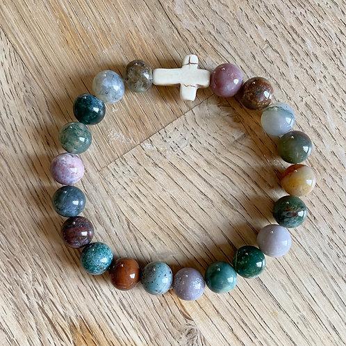 White Cross & River Stone Bracelet