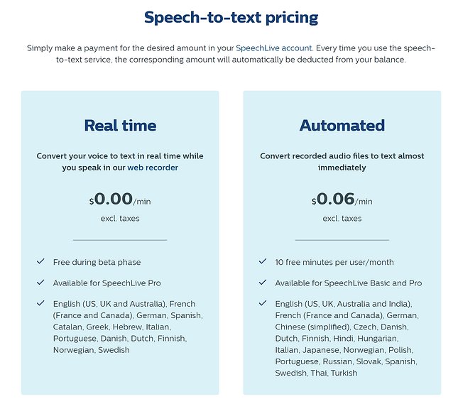 speechlive 2021 speech to text pricing.P