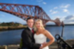 Bride & Groom Smile in Front of Forth Railway Bridge, North Queensferry