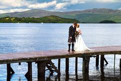 Bride & Groom Kiss on the Jetty, Duck Bay, loch Lomond