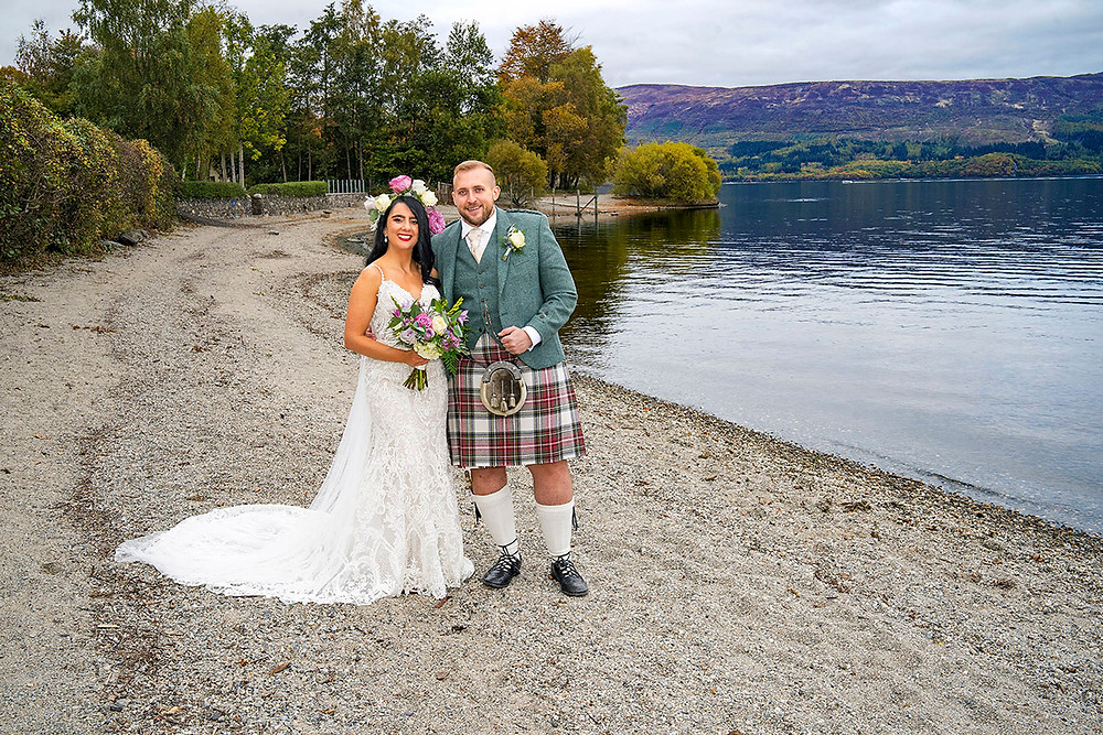 Laura & Chris Smiling on the Beach, Lodge o Loch Lomond