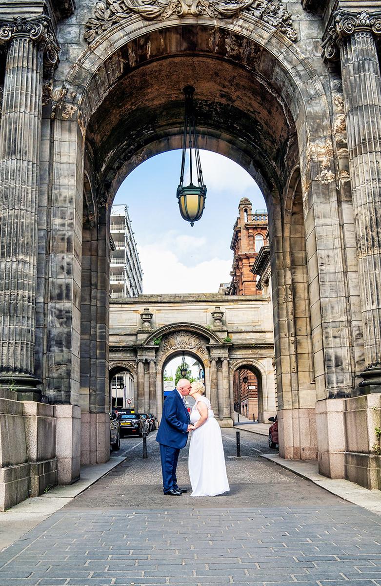 The Bride & Groom Kiss Under the John St Arch, Glasgow