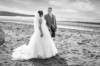 Bride & Groom on the beach at Ayr