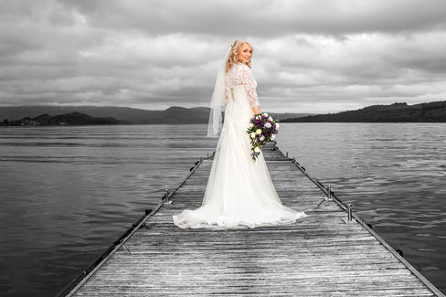 Beautiful Bride Looks Back from the jetty, The Cruin, Loch Lomond