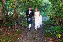 Bride & Groom Stroll Through the Woods, Ross Hall, Loch Lomond