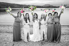 Bride & Her Bridesmaids Waving Their Bouquets, Lodge on Loch Lomond