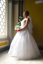 Beautiful Bride Gazes Out Of The Window, Park Circus, Glasgow