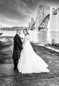 Bride & Groom on the Pier Beside the Forth Rail Bridge, Orocco Pier