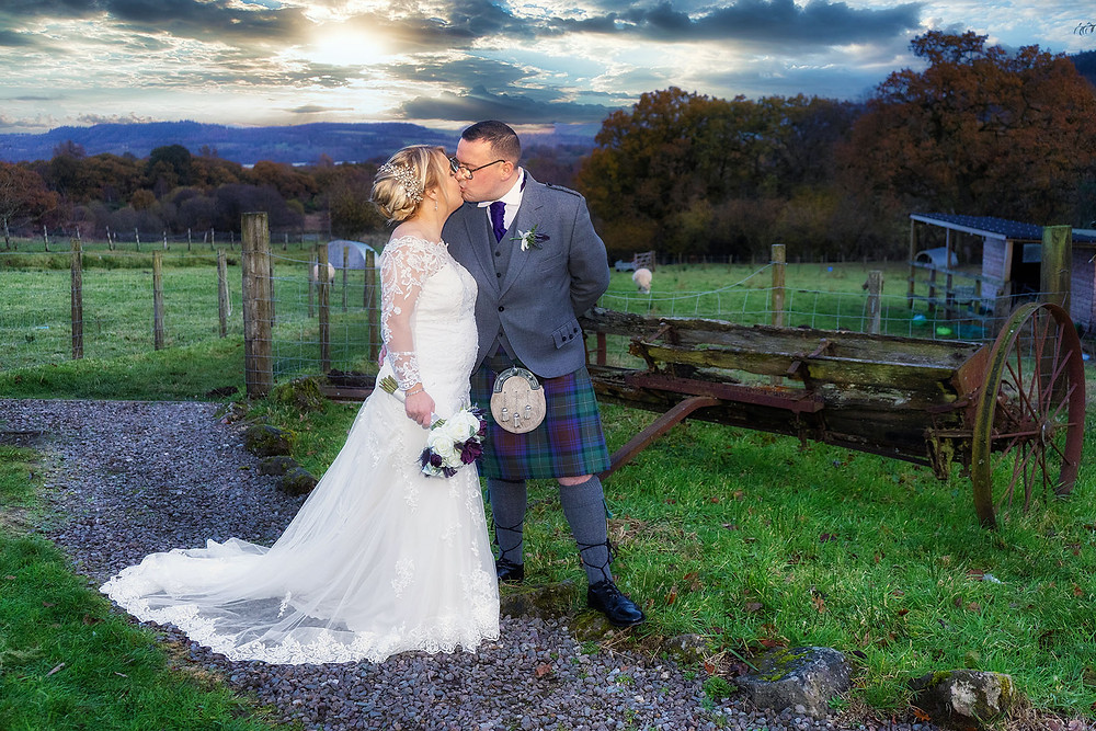The Bride & Groom Kiss in the Fields, Fruin Farm, Helensburgh