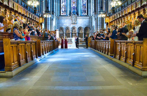 Bride & Groom Take Their Vows, Glasgow University Chapel