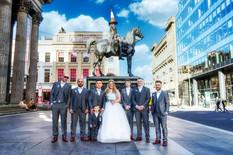 The Bride & Groom With Groomsmen. Wellington Statue, Glasgow