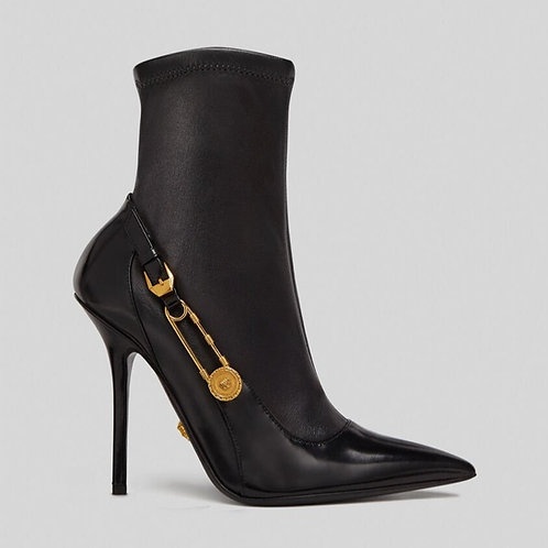 VERSACE SAFETY PIN LEATHER ANKLE BOOTS - RAFFLE TICKET