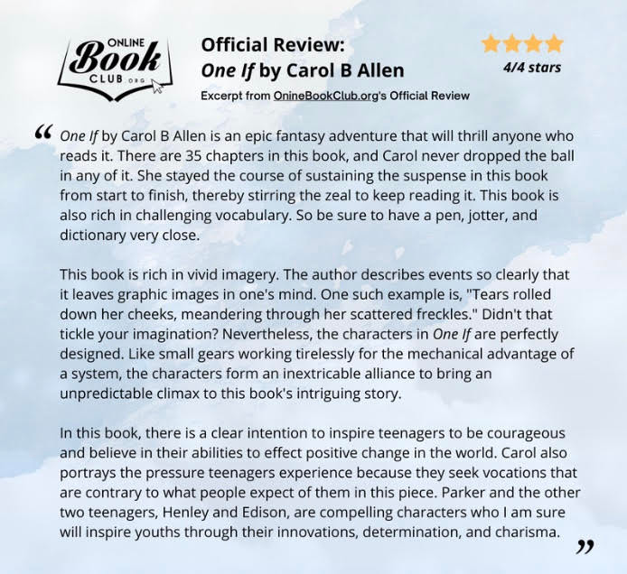 Review of One If by Carol B Allen