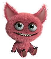 Пушистый розовый монстр анимация