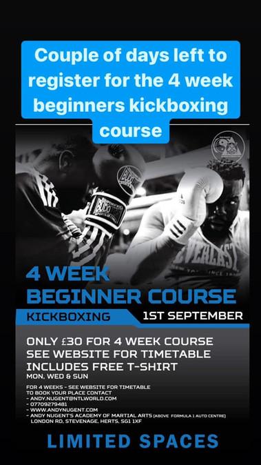 beginners kickboxing course