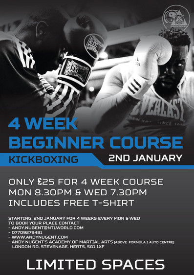 Beginners kickboxing courseAndy Nugent's Academy of Martial Arts Stevenage is running a beginner