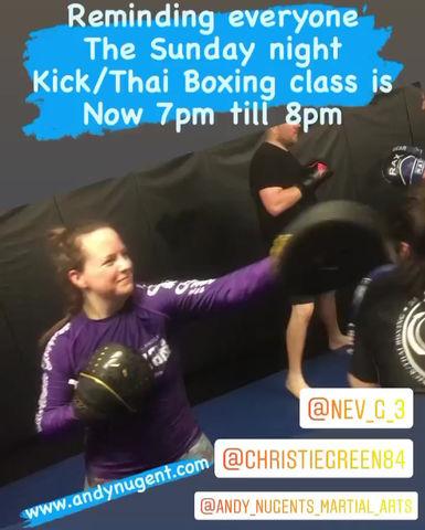 New class times Sunday Night Kickboxing class