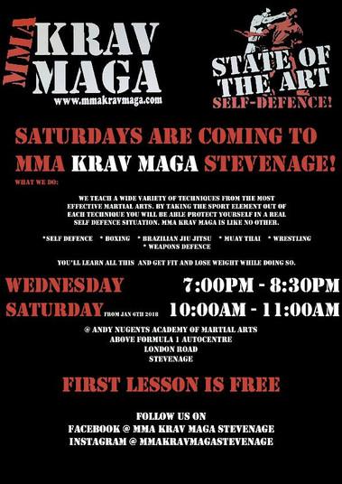 Krav Maga starting soon on Saturdays