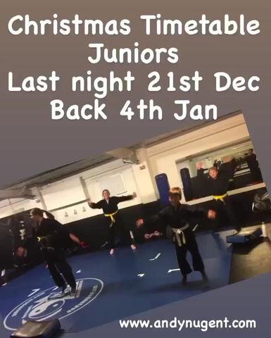 Junior Christmas timetable