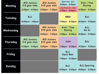 Wednesday timetable