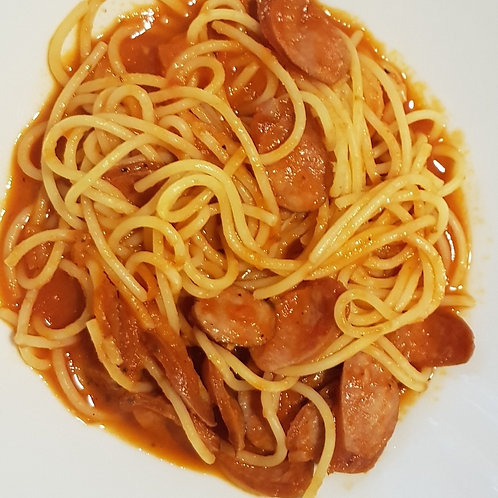Smoked pork sausages in tomato sauce