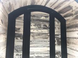 Faux weathered wood on Suraya Restaurant front door