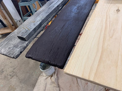 Three stages to antique barn wood