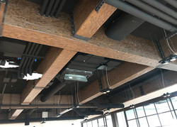 Faux wood beams at Comcast Center