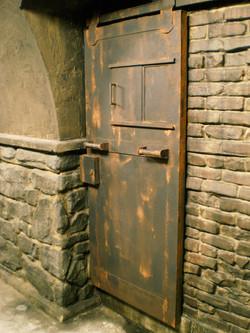 Faux rusty iron door for movie set