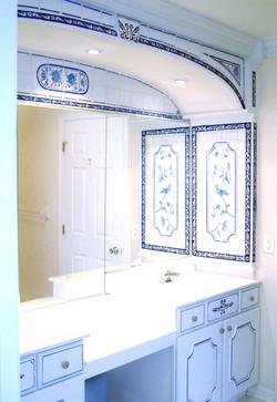 Faux Delft blue tile work finish