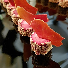 Beetroot Cured Goat's Cheese and Sesame, Bayonne Ham Crisp