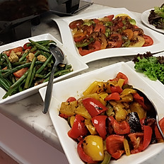 Roasted Vegetables; Green Bean, Tomato and Baby Corn; Tomato and Basil Salad, Balsamic Dressing